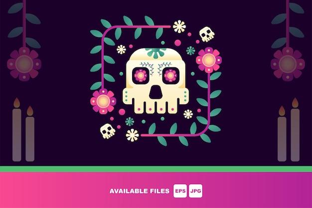 Giorno dei morti, dia de los muertos, set di illustrazioni vettoriali piatte. teschi messicani di zucchero,