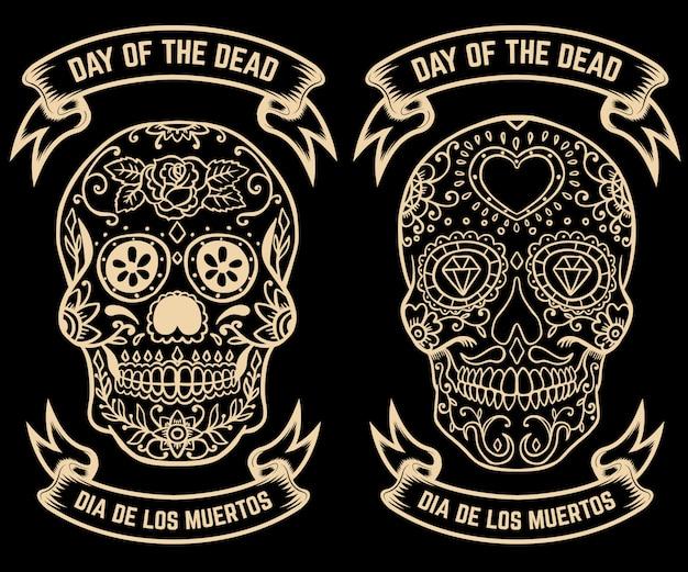 Giorno della morte. dia de los muertos. set di teschi di zucchero. elementi per poster, biglietti di auguri,. illustrazione