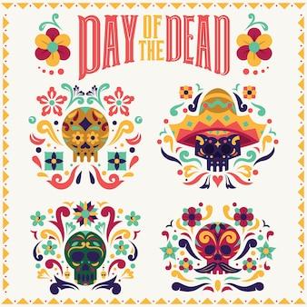 Day of the dead collezione di teschi dia de los muertos con tipografia