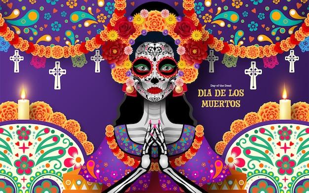 Teschio di zucchero del giorno dei morti dia de los muertos con fiori di calendula