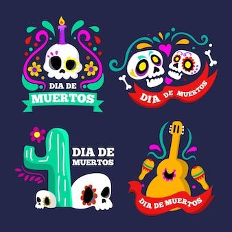Vettore di raccolta di badge dia de muertos del giorno dei morti