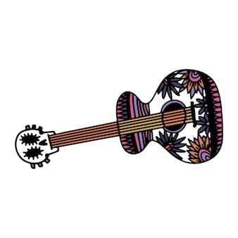 Schizzo disegnato a mano del giorno dei morti per la vacanza messicana dia de los muertos guitar con l'immagine