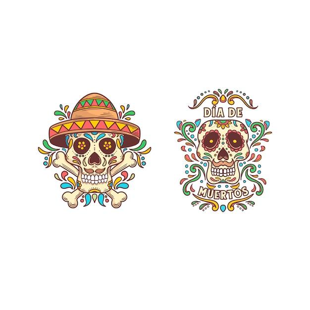Giorno dei morti illustrazione teschio a colori pieno