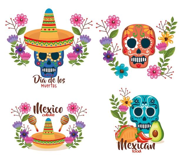 Giorno delle maschere morte con decorazione floreale