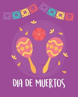 Giorno dei morti, celebrazione messicana maracas fiori e gagliardetti.