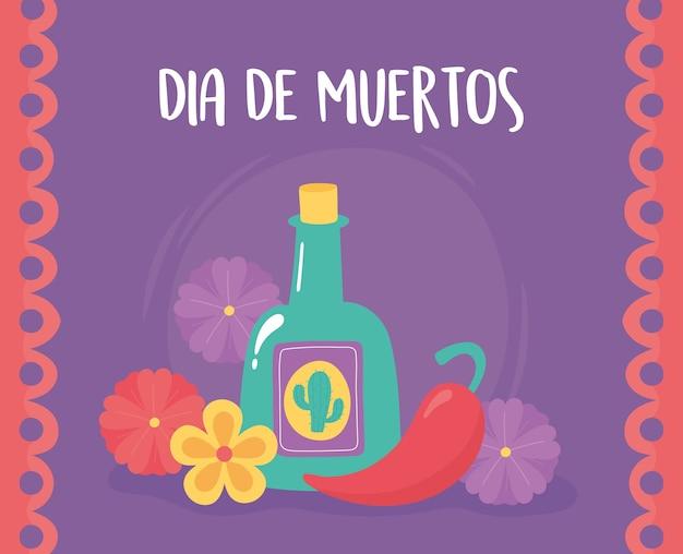 Giorno dei morti, cartolina d'auguri dei fiori del peperoncino della bottiglia di tequila di celebrazione messicana.