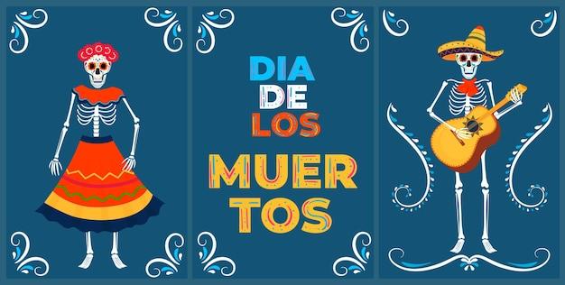 Festa del giorno dei morti. carte dea de los muertos. scheletri dipinti suonano strumenti musicali e ballano.