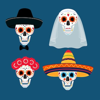 Festa del giorno dei morti. dea de los muertos. teschi dipinti in sombrero, ghirlanda, velo, cappello.