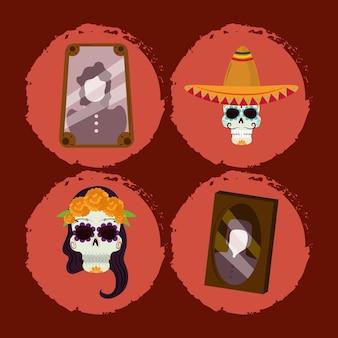 Il giorno dei morti, il cranio di catrina della cornice delle foto con le icone messicane di celebrazione del cappello vector l'illustrazione
