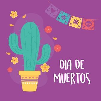 Giorno dei morti, fiori di cactus in vaso e decoraiton della stamina, celebrazione messicana.