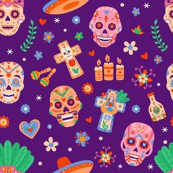 Giorno dei morti senza cuciture. dia de los muertos teschi e fiori di zucchero. festa messicana di halloween con stampa vettoriale piatta di teste di scheletri. modello di illustrazione morte messicana, muertos messico