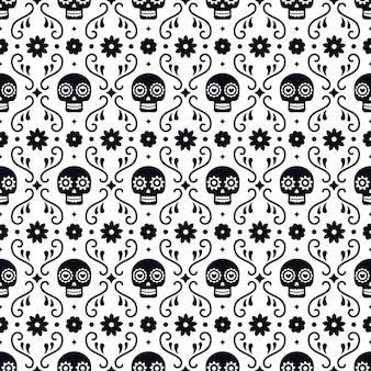 Giorno del modello senza cuciture morto con teschi e fiori su sfondo bianco. design messicano tradizionale di halloween per la festa di dia de los muertos. ornamento dal messico.