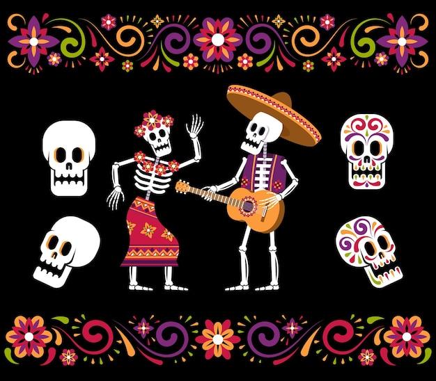 Giorno dei morti scheletro teschio di zucchero e ornamento floreale messicano decorazione dia de los muertos