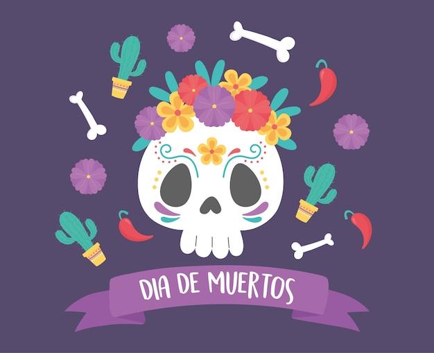 Giorno dei morti, teschio catrina fiori ossa decorazione cactus, celebrazione messicana.
