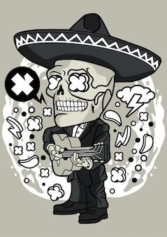 Day of the dead, cranio che suona l'illustrazione della chitarra