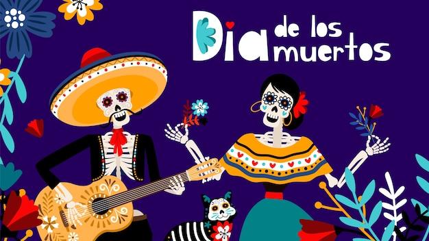 Giorno dei morti in spagnolo, tradizionale festival messicani sfondo di colore con scheletri e illustrazione vettoriale gatto. sfondo di dia de los muertos
