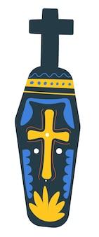 Giorno dei simboli morti della vacanza messicana, bara isolata con croce e ornamenti. pietra tombale con linee decorative, lapide o scultura con corpo. vettore tradizionale del messico in stile piatto