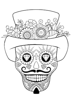 Giorno dei morti, zentangle sugar skull. libro da colorare adulto di vettore