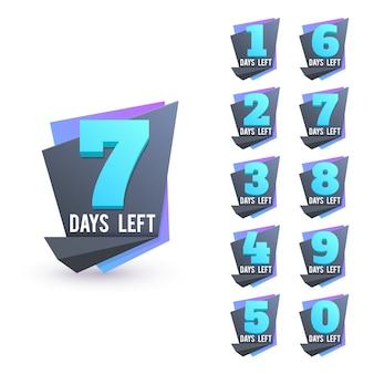 Numeri di giorno per andare. giorni rimanenti insieme del segno di affari di conto alla rovescia