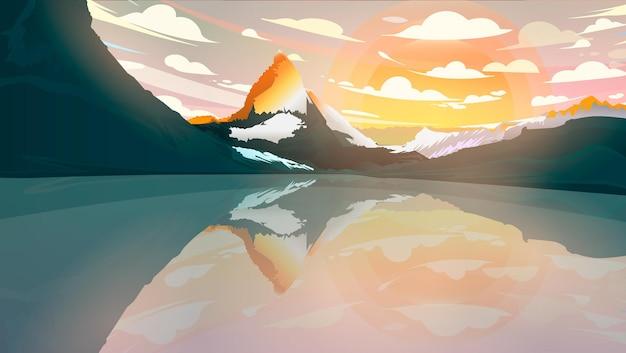 Paesaggio di giorno con le montagne sul lago