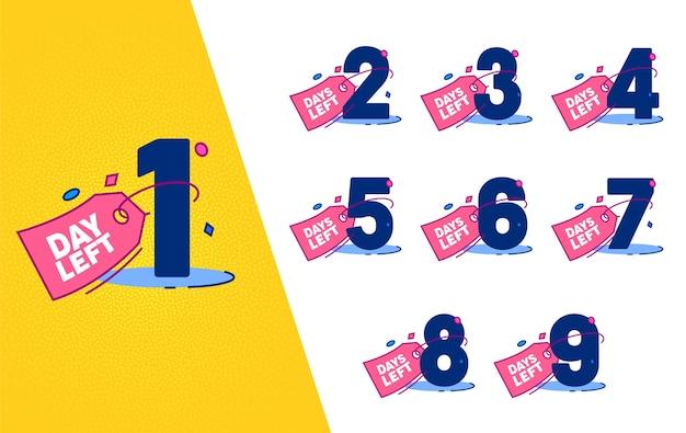 Set di badge per etichetta contatore sinistro giorno. shopping marketing conteggio isolato banner per fashion business event sconto offerta piatta illustrazione vettoriale