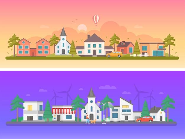 Città diurna e notturna - set di moderne illustrazioni vettoriali piatte su sfondo arancione e viola. due varianti di paesaggi urbani con edifici, donna che porta a spasso un cane, chiesa, auto sulla strada, mulini a vento