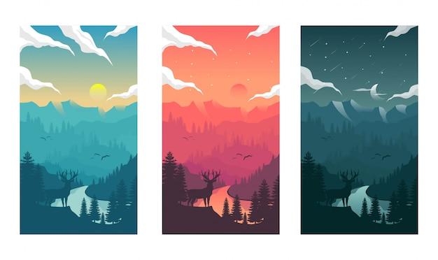 Illustrazione del paesaggio del ciclo di giorno e di notte