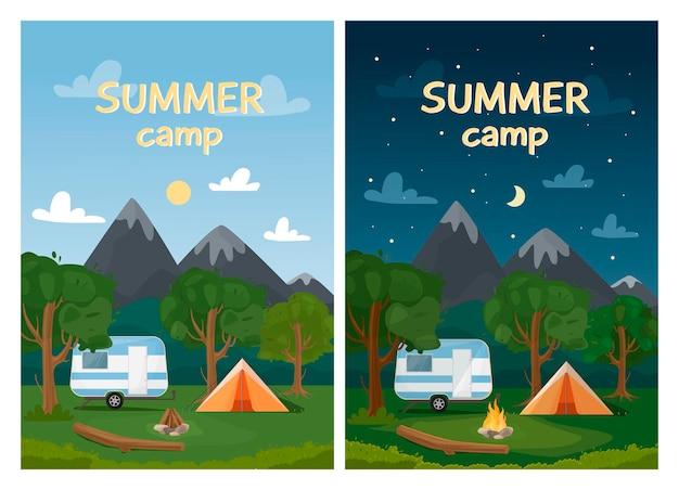 Illustrazione del paesaggio diurno e notturno con montagne, foresta, camper, tenda e falò in stile piatto. banner web verticale per campo estivo, turismo naturalistico, campeggio, escursionismo, trekking.