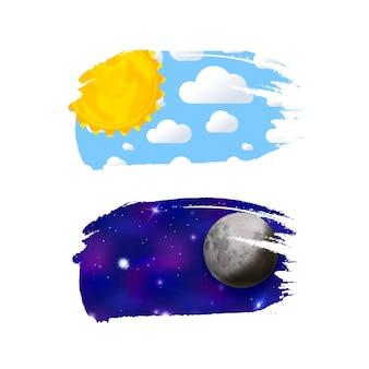 Giorno e notte come pennellate isolate su bianco