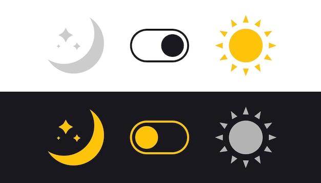 Interruttore modalità giorno e notte. sole e luna. pulsante di attivazione/disattivazione filtro luce. attivazione, disattivazione della modalità di sospensione. interruttore on off. pulsanti chiari e scuri. semplice icona dell'interruttore della modalità oscura.