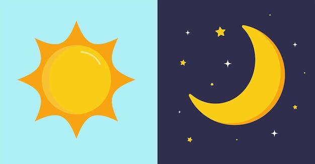 Giorno e notte sole su sfondo blu luna e stelle a mezzanotte