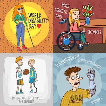 Set di banner di persone disabili