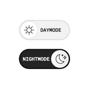 Pulsante di commutazione modalità giorno e modalità notte. tema chiaro e scuro. Vettore Premium