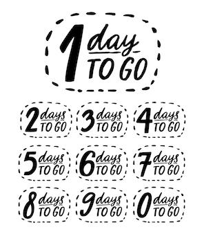 Giorni per andare. numeri scritti a mano, modello di conto alla rovescia per vendita, promo e offerte. distintivi di doodle di vettore nero da 0 a 9.