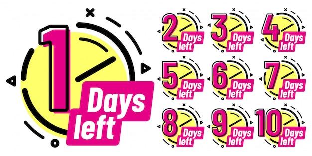 Distintivi di giorni rimanenti, segno di conto alla rovescia in corso, badge di un giorno a sinistra e set di etichette conteggio delle date di lavoro