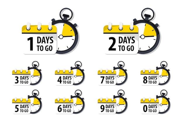 Giorni rimanenti distintivi e adesivi. conta il tempo di vendita. numero di giorni rimasti. banner di conto alla rovescia dei giorni rimasti. conto alla rovescia modello di banner vettoriale. nove, otto, sette, sei, cinque, quattro, tre, due, uno, zero giorni rimasti