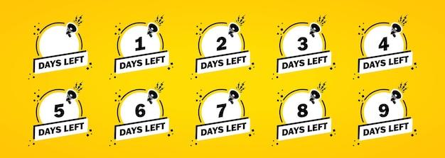 Set di icone giorni a sinistra