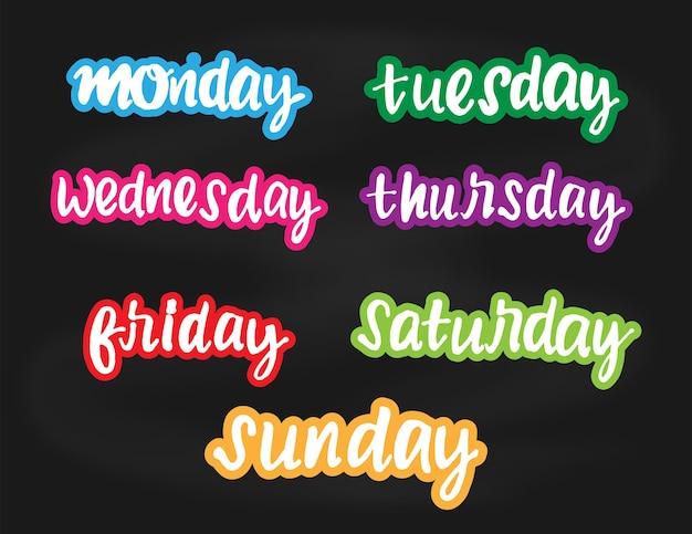 I giorni della settimana doodle lettere colorate vettoriali