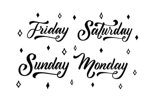 Collezione di lettere di giorni della settimana, mesi e stagioni