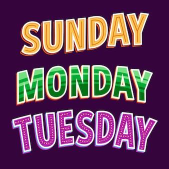 Raccolta di lettere di giorni della settimana, mesi e stagioni