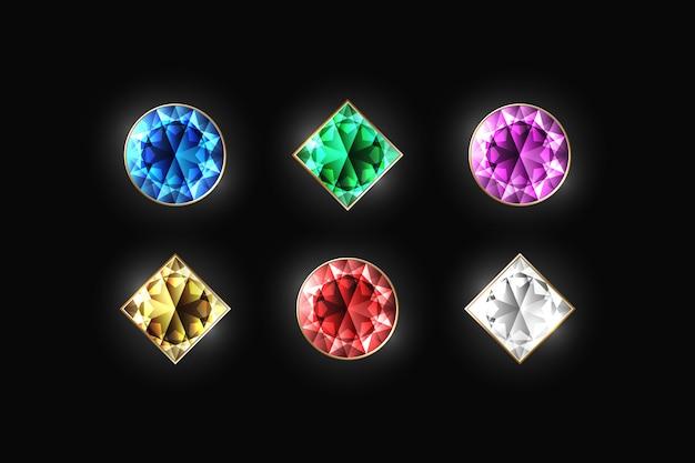 Diamante abbagliante di diverso colore e forma