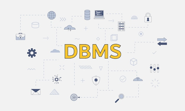 Concetto di sistema di gestione del database dbms con set di icone con grandi parole o testo sul vettore centrale