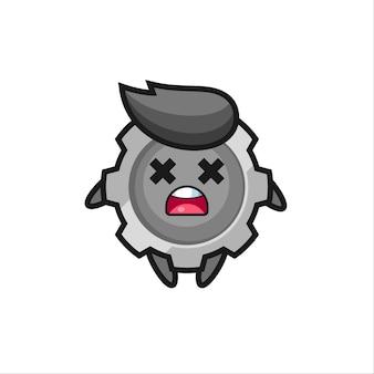 Il personaggio mascotte dell'ingranaggio morto, design in stile carino per maglietta, adesivo, elemento logo