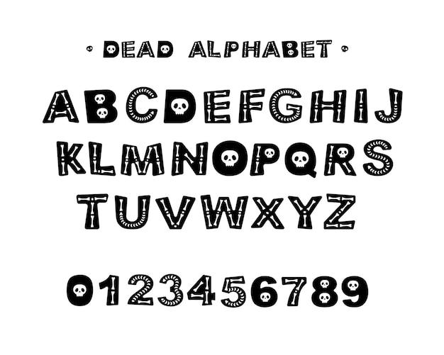 Alfabeto di halloween morto con le ossa