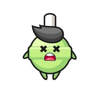 Il personaggio mascotte lecca-lecca morto, design in stile carino per maglietta, adesivo, elemento logo