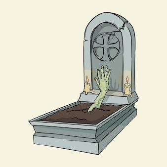 Uomo morto che striscia fuori dalla tomba illustrazione vettoriale disegnata a mano isolata su sfondo
