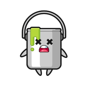 Il personaggio mascotte di latta di vernice morta, design in stile carino per maglietta, adesivo, elemento logo