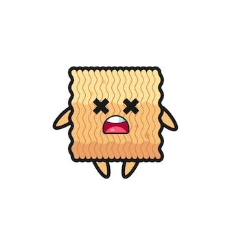 Il personaggio mascotte di spaghetti istantanei crudi morti, design in stile carino per maglietta, adesivo, elemento logo
