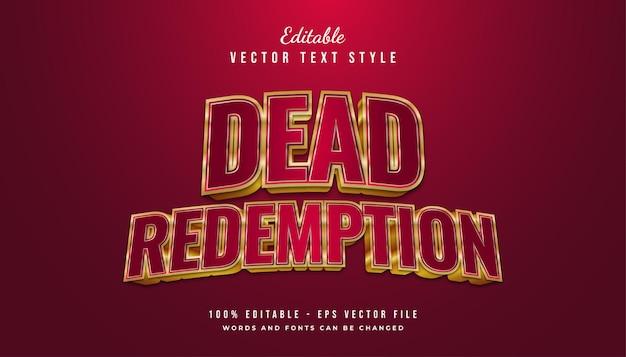 Stile di testo di dead redemption con effetto rosso e oro