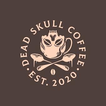 Modello di logo di caffè teschio morto